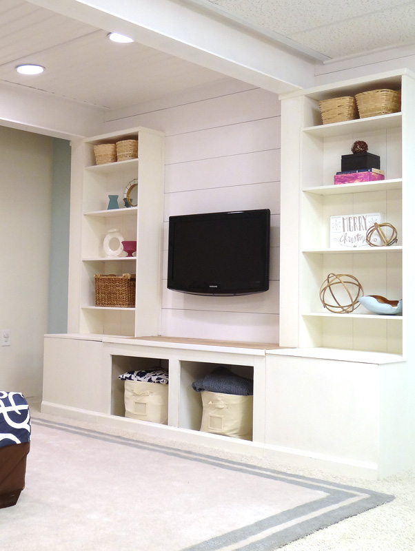 Wall Units For Storage remodelaholic | diy built-in media wall unit with extra storage