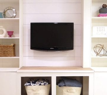 DIY Built In Media Wall Unit With Extra Storage (From An IKEA Bookcase!