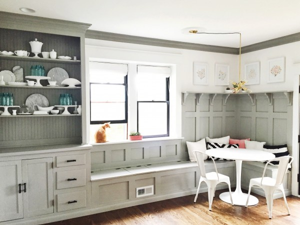 Gorgeous Gray Dining Room Banquette Plus Built In Hutch. The Paneled Board  And Batten