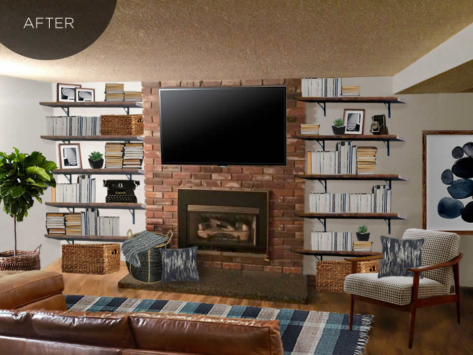 Designing a masculine living room space, with the TV above the fireplace and open floating bookshelves