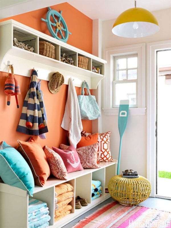 Love all the colors in this lake house mudroom   100+ Beautiful Mudrooms and Entryways at Remodelaholic.com