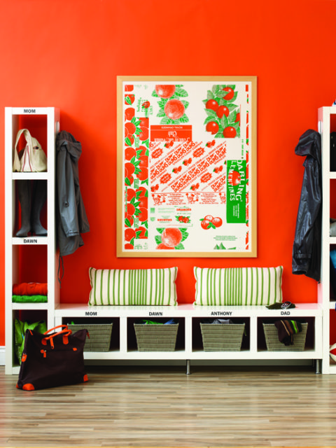 Orange Mudroom Organization, I need this bench and storage tower   100+ Beautiful Mudrooms and Entryways at Remodelaholic.com