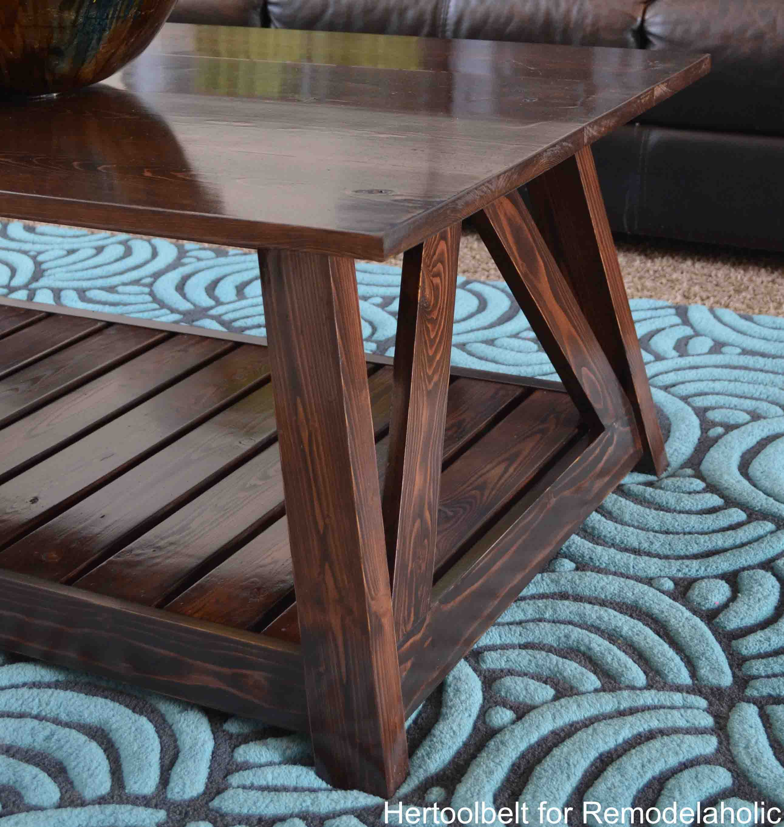 Remodelaholic diy slat coffee table inspired by a coffee table in a hgtv dream home i love the trapezoid base geotapseo Gallery