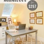 Small home office makeover with file cabinet desk. This office was decorated from scratch on a $250 budget!