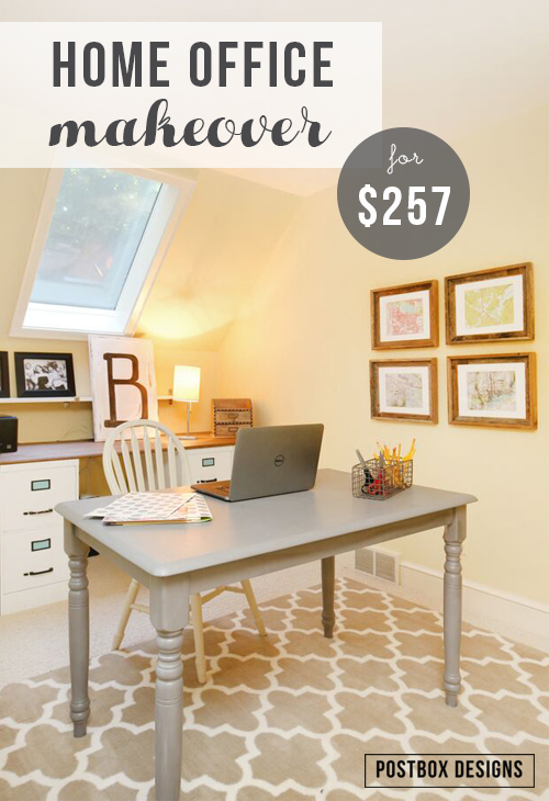 Small Home Office Makeover With File Cabinet Desk. This Office Was  Decorated From Scratch On