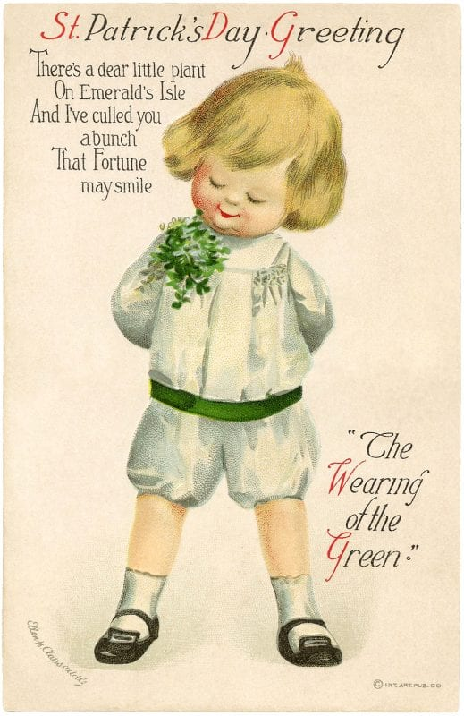 St. Patrick's Day decorations, free printable vintage images from The Graphics Fairy on Remodelaholic