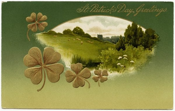 St. Patrick's Day decorations, printable vintage images from the Old Design Shop via Remodelaholic