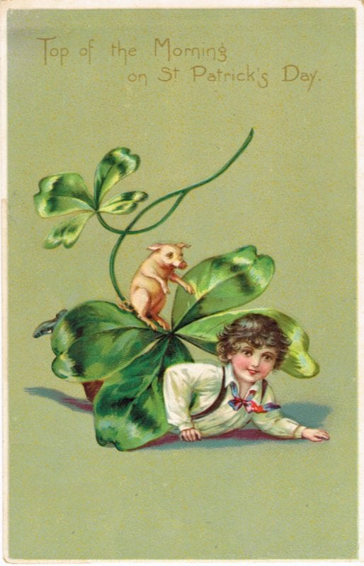 Vintage St. Patrick's Day decorations, printable images from Plaisanter via Remodelaholic