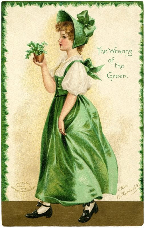 St. Patrick's Day decorations, printable vintage images from the Little Pink Studio via Remodelaholic