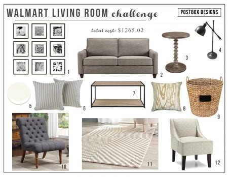 Walmart living room mood board Postbox Designs