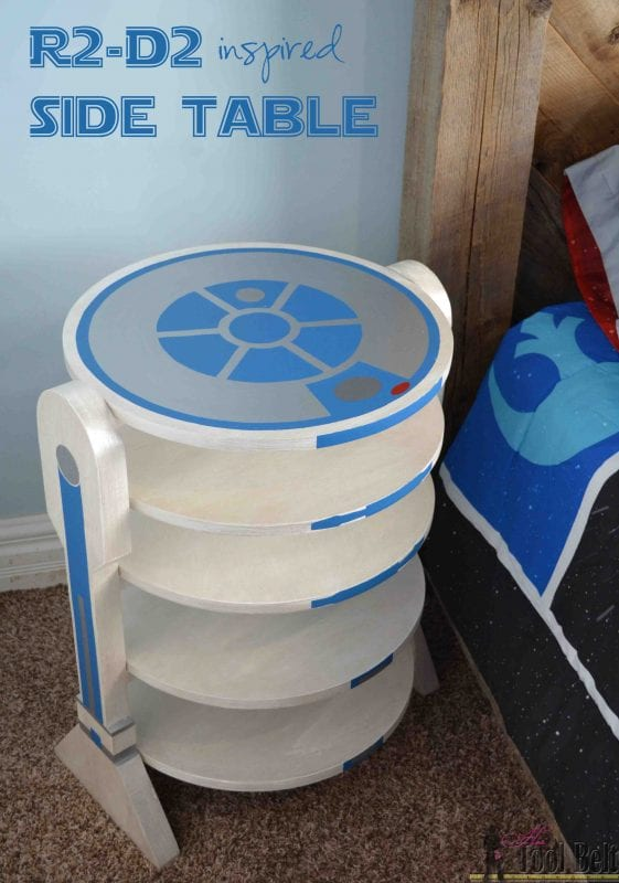 awesome R2-D2 inspired side table, every Star Wars fan needs to build one of these, room organization ideas from Remodelaholicby Hertoolbelt