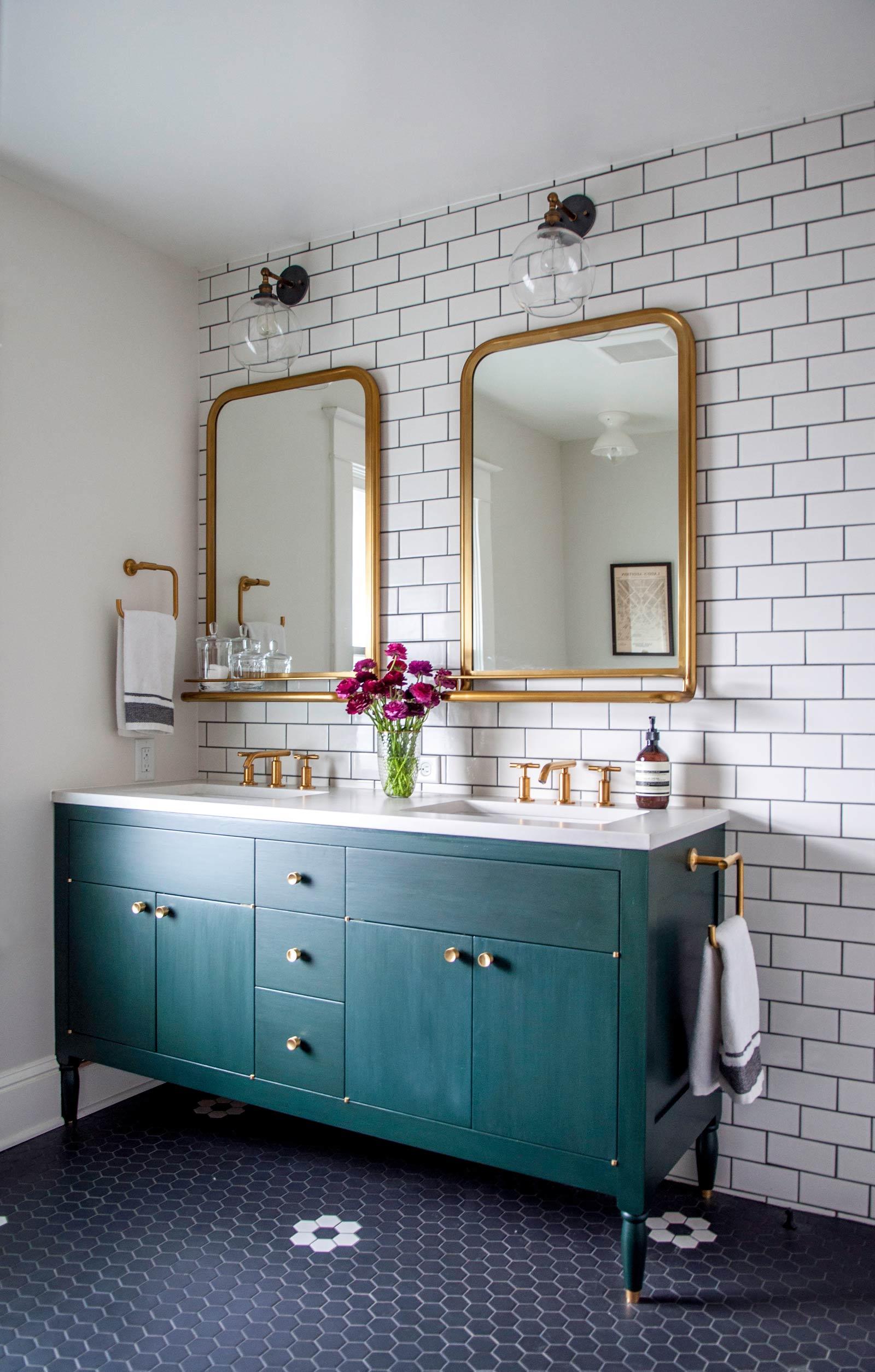 Remodelaholic friday favorites marbling wallpaper and - Schoolhouse bathroom vanity light ...
