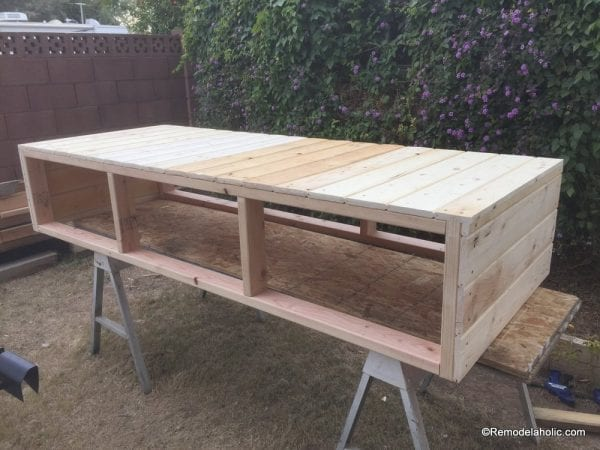 build a farmhouse style planked x tv console or sideboard @Remodelaholic (15)