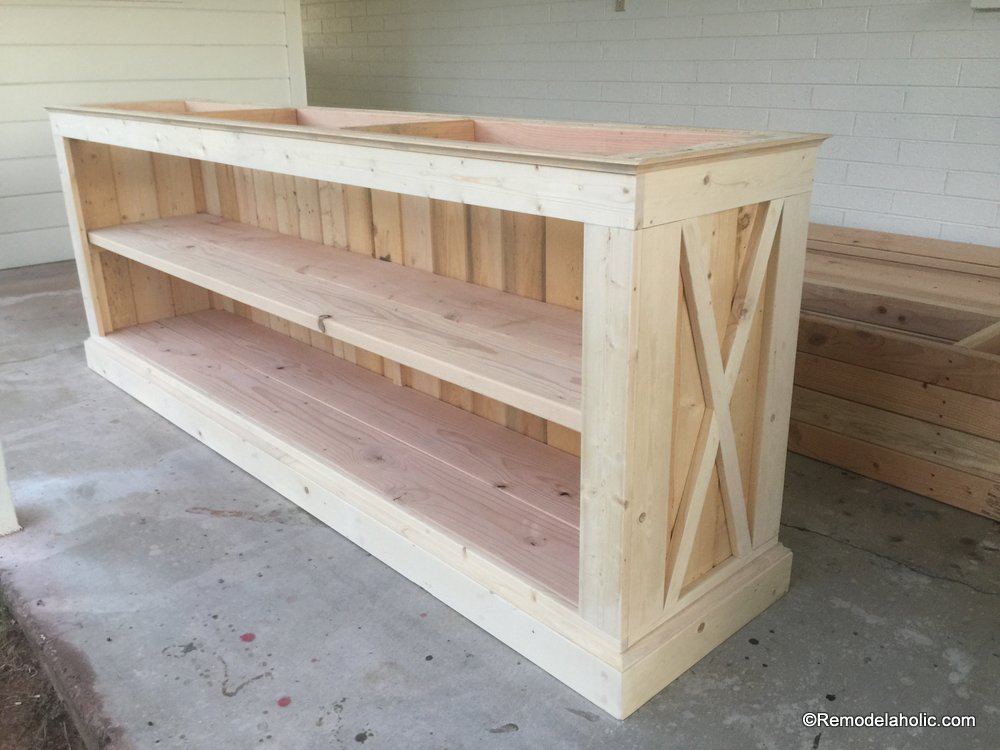 Remodelaholic build a farmhouse style tv console sideboard for Building a farmhouse