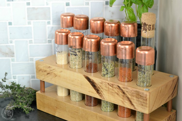 build your own copper and test tube spice rack for your goto favorite spices