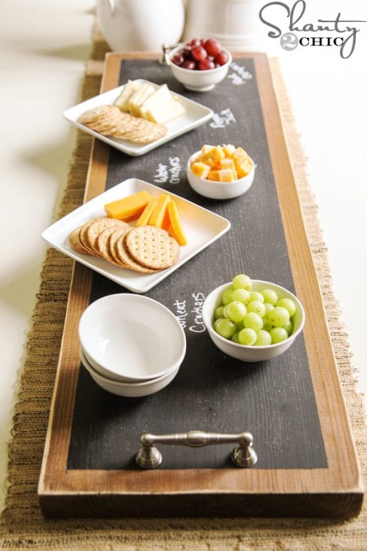 chalkboard serving tray for party