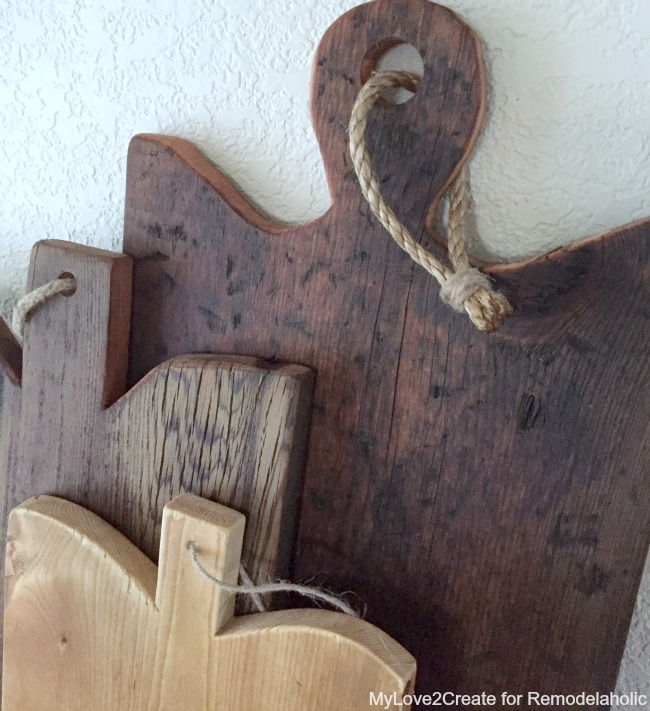 close up of antique cutting boards, MyLove2Create for Remodelaholic