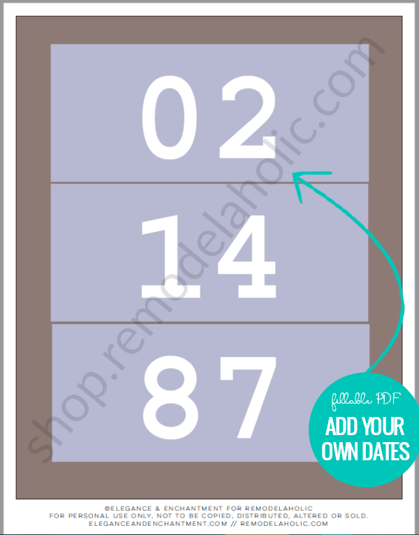 Custom Anniversary Date Art Printable, Fillable PDF #remodelaholic