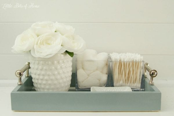 Room organization ideas: easy bathroom tray to keep the vanity top organized, Little Bits of Home
