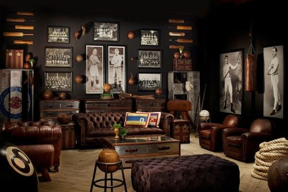 remodelaholic a modern man cave mood board. Black Bedroom Furniture Sets. Home Design Ideas