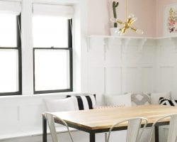 feat whitney dining room banquette bench in pink