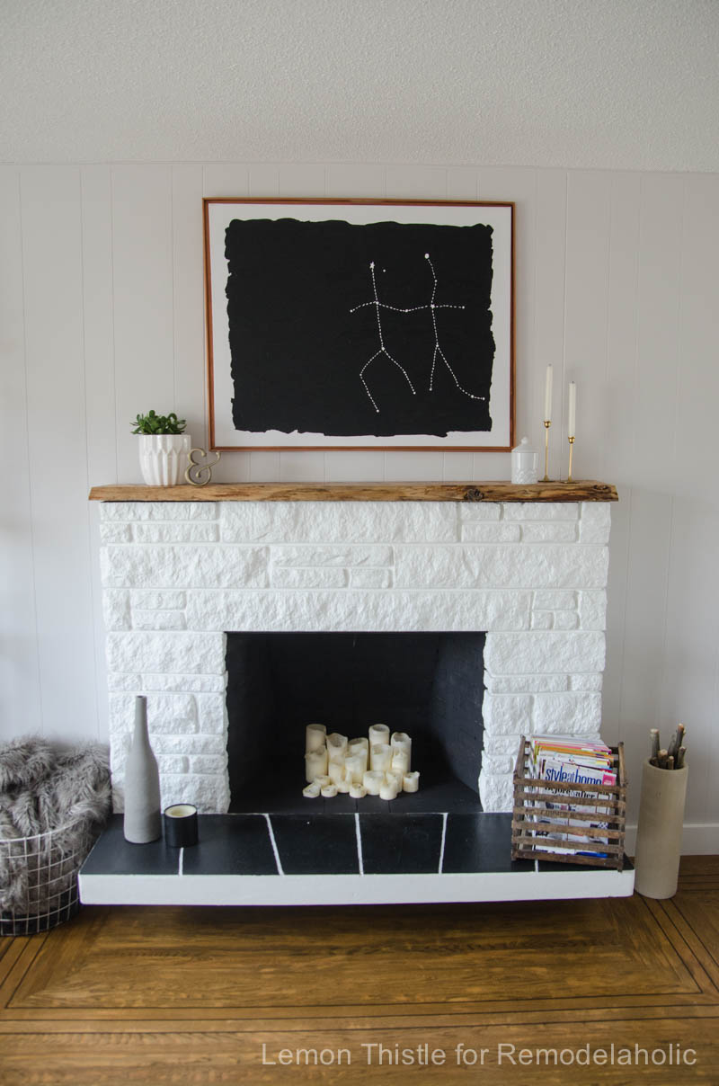 Remodelaholic Diy Stone Fireplace Update With Live Edge