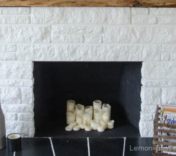 DIY Stone Fireplace Update with Live Edge Wood Mantel