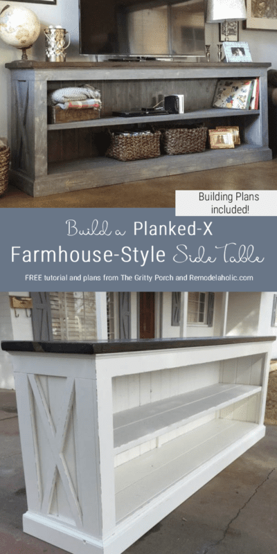 Free Building Plans For Farmhouse Style Sideboard Table, Tv Console Table, By The Gritty Porch Featured On @Remodelaholic