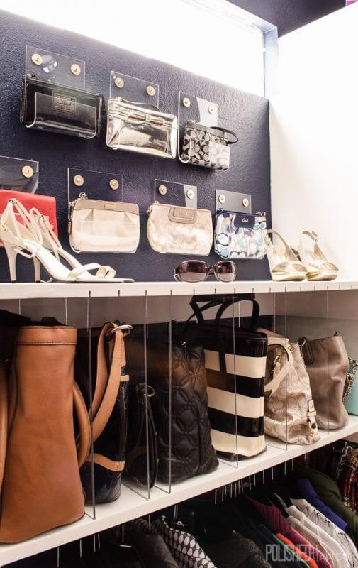 gorgeous master closet with clutch and purse organization, DIY acrylic style PolishedHabitat