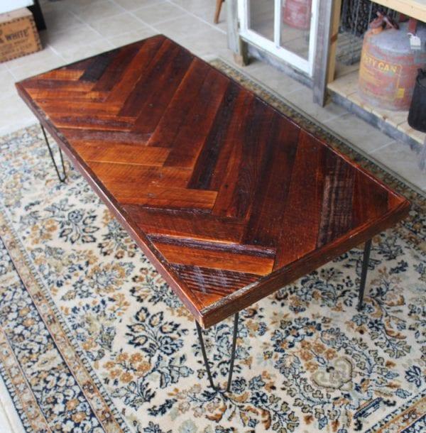 reclaimed wood herringbone coffee table tutorial