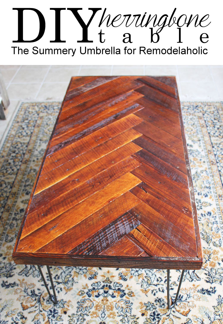 A classic geometric pattern gets a new look with this DIY herringbone coffee table. It pairs beautiful reclaimed wood with hairpin legs, and you can build one too! This easy DIY tutorial shows you how to use reclaimed wood or new wood to create the beautiful coffee tabletop pattern.