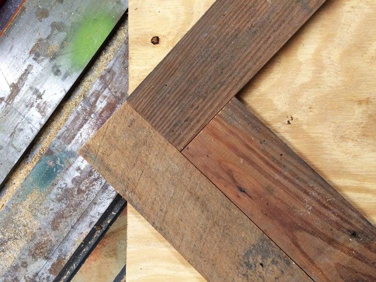 How To Build A Reclaimed Wood (or New Wood) Herringbone Coffee Table Top.