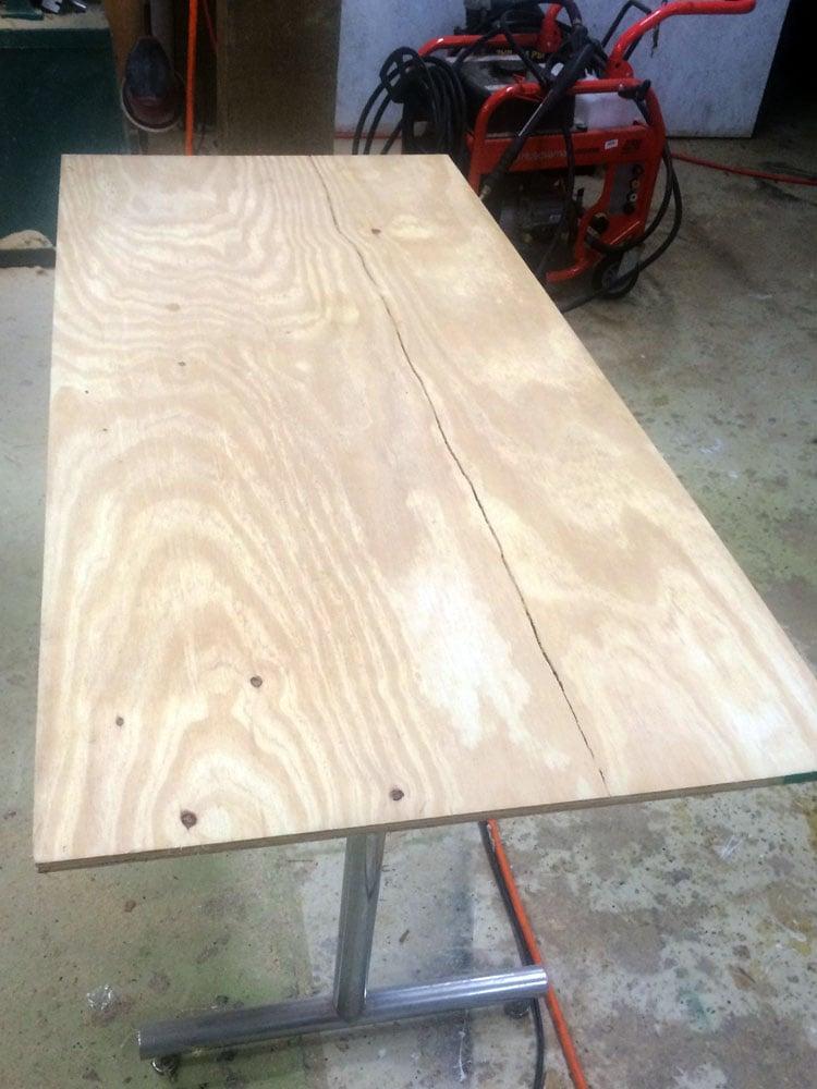 plywood base for herringbone coffee table