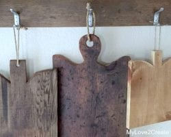 horizontal image of cutting boards, MyLove2Create for Remodelaholic