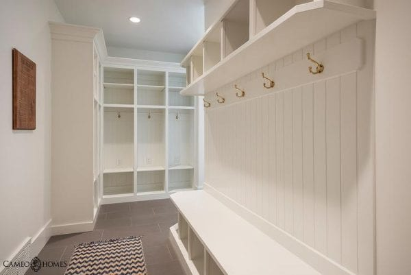 built-in mudroom with lockers and benches | 100+ Beautiful Mudrooms and Entryways at Remodelaholic.com