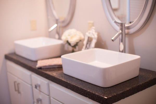 master bathroom renovation with DIY concrete countertops Construction2Style on @Remodelaholic (10)