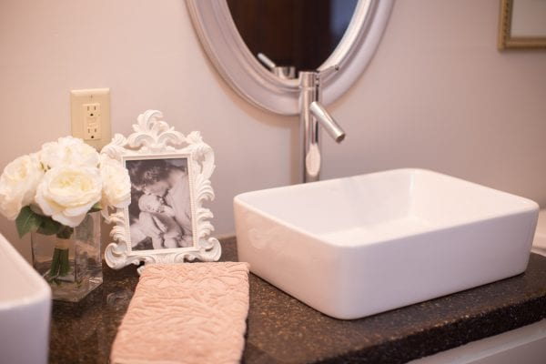 master bathroom renovation with DIY concrete countertops Construction2Style on @Remodelaholic (14)