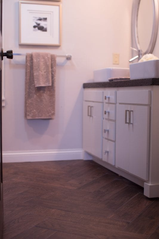 master bathroom renovation with DIY concrete countertops Construction2Style on @Remodelaholic (23)
