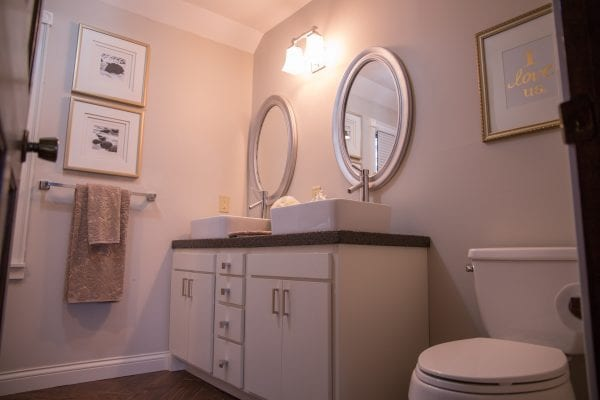 master bathroom renovation with DIY concrete countertops Construction2Style on @Remodelaholic (4)
