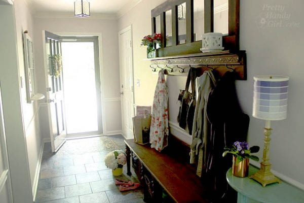 fun entryway   100+ Beautiful Mudrooms and Entryways at Remodelaholic.com