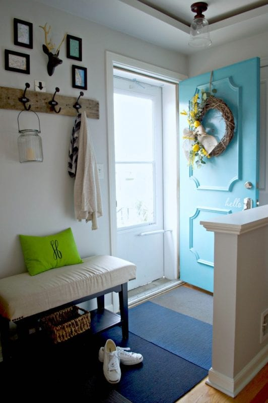 spring colorful entryway   100+ Beautiful Mudrooms and Entryways at Remodelaholic.com