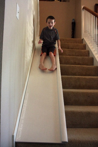 Remodelaholic Diy Stair Slide Or How To Add A Slide To Your Stairs