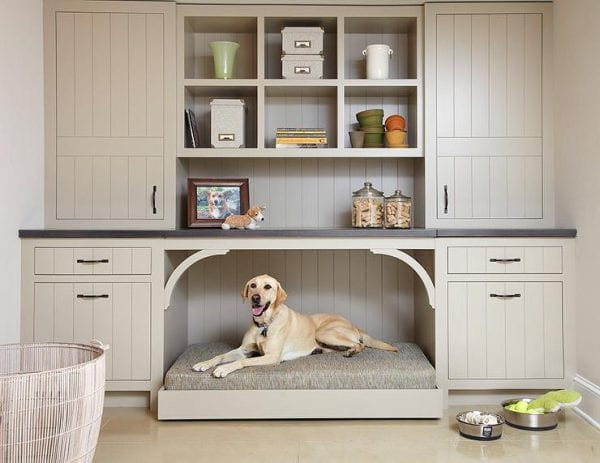 taupe mudroom cabinets with a built-in dog bed | 100+ Beautiful Mudrooms and Entryways at Remodelaholic.com