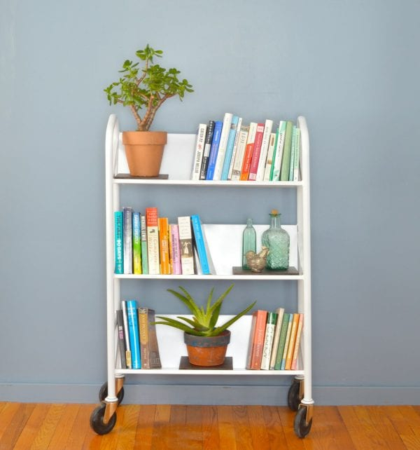 upcycled library cart Plaster and Disaster in home organization ideas from Remodelaholic