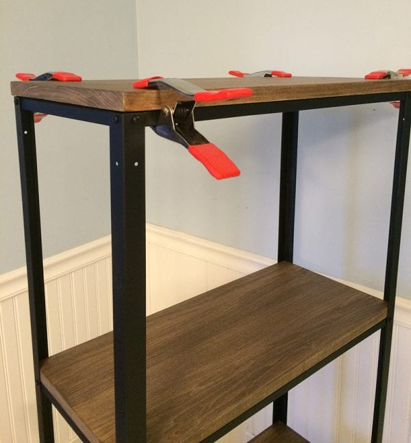 DIY Ikea hack, metal and wood shelf, by Real Happy Space featured on @