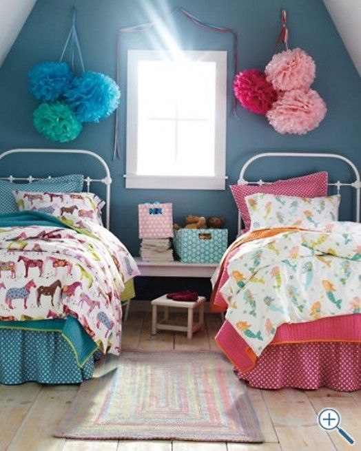 Shared Kids Space Inspiration -- pink and blue, for girls!