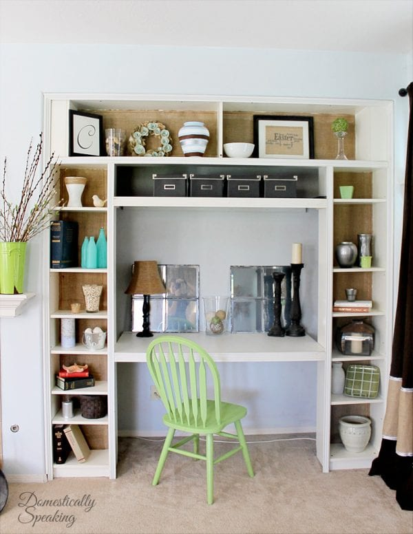 4 Built in desk nook from Ikea bookshelf, by Domestically Speaking featured on @Remodelaholic