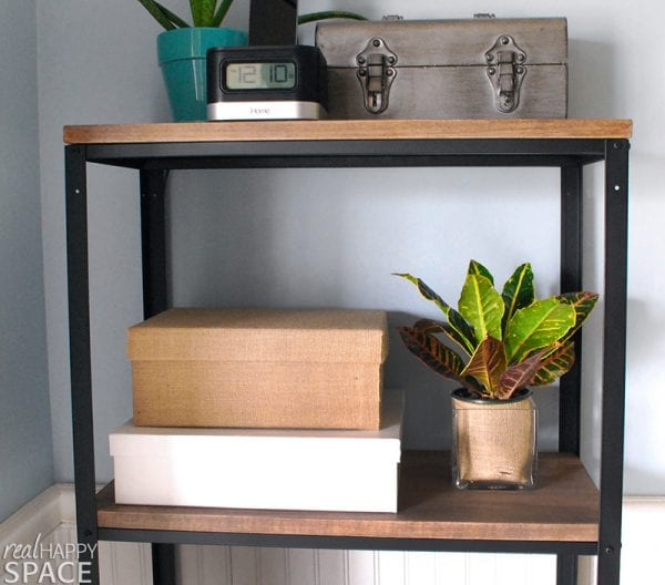 Wood and metal bookshelf, ikea hack, by Real Happy Space featured on @Remodelaholic