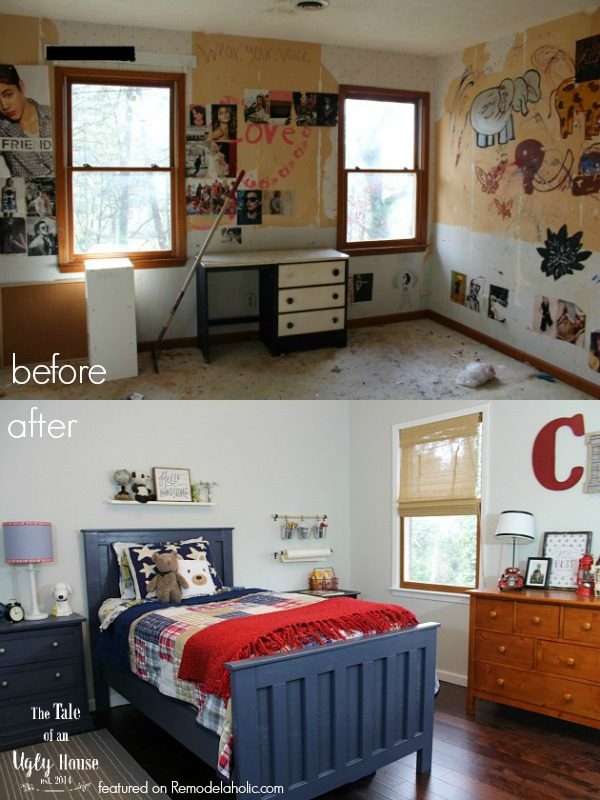 Amazing classic boys' room makeover with toy storage!