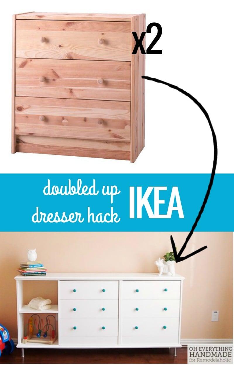 Remodelaholic | Double The Fun! IKEA Rast Dresser Hack